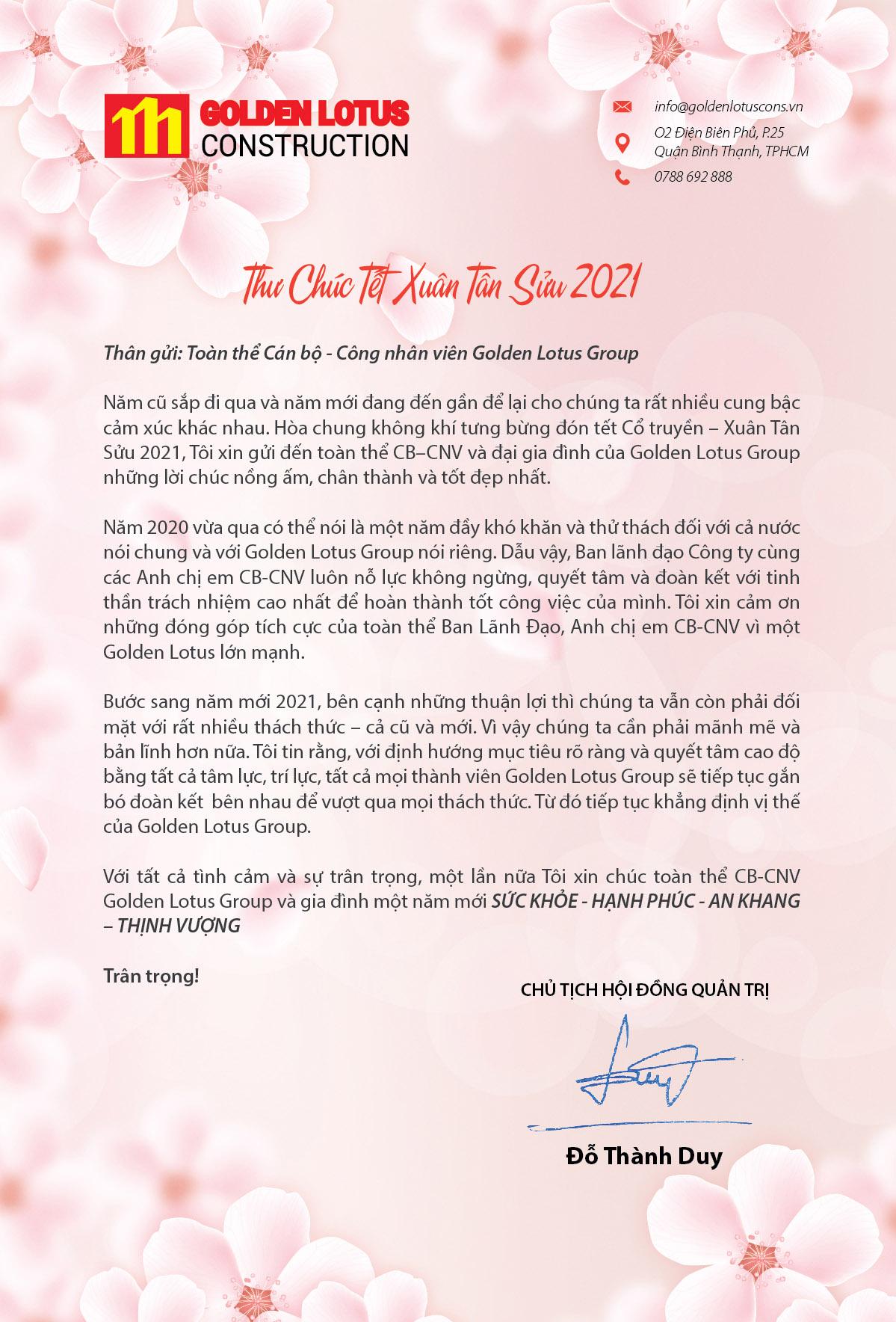 Thư chúc xuân Tân Sửu 2021 của Chủ tịch Hội Đồng Quản Trị Golden Lotus Construction